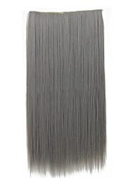 Недорогие -26-дюймовый клип в синтетических серый цвет прямые наращивания волос с 5 зажимами