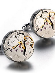 Men's Luxury Watch Movement Design Alloy French Shirt Cufflinks (1-Pair) Christmas Gifts