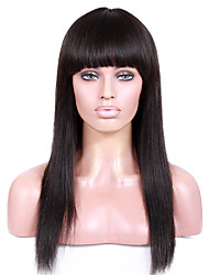 cheap -8 12 inch braizlian virgin remy human hair glueless lace front yaki straight wigs with full bang for african americans