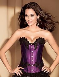 YUIYE® Women Sexy Lingerie Waist Training Corset Bustier Tops Shapewear Red Purple Floral Print Overbust Plus Size