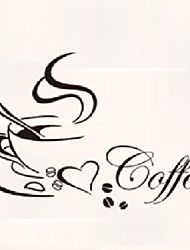 cheap -Coffee Quotewall Stickers Coffee Cup Coffeebeans Wall Stickers Home Decor Vinyl Home Decoration