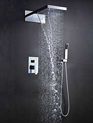 cheap -Wall Mounted 304 Stainless Steel Chrome With Rainfall And Waterfall Thermostatic Top Spray Shower Sets