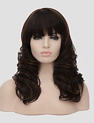 Middle Long Size Dark Brown Color Curly Hair Synthetic Wigs