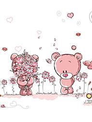 Kids Bedroom Pink Bear Garden Wall Decals Removable DIY Kindergarten Wall Art Cartoon Wall Stickers