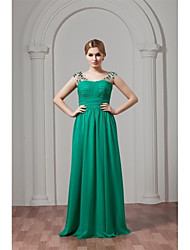 cheap -A-Line Straps Floor Length Chiffon Bridesmaid Dress with Crystal Detailing Pleats by LAN TING Express