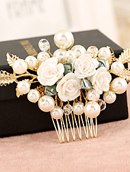 cheap -Pearl Alloy Hair Combs Flowers 1 Wedding Special Occasion Headpiece