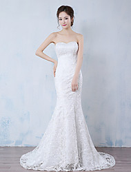 Mermaid / Trumpet Strapless Sweep / Brush Train Lace Wedding Dress with Lace by LAN TING BRIDE®