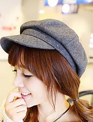 Pure Color Wool Hat British Retro Octagonal Cap
