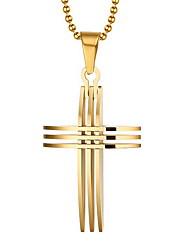 Homens Colares com Pendentes Pingentes Formato de Cruz Chapeado Dourado 18K ouro Cruz Personalizado Europeu bijuterias Jóias Para Diário