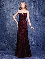 cheap -A-Line Sweetheart Neckline Floor Length Lace Formal Evening Dress with Lace by