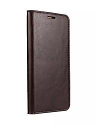 Недорогие -Кейс для Назначение Huawei Honor 7 / Huawei Mate S / Huawei P9 Кошелек / Бумажник для карт / со стендом Чехол Однотонный Твердый Настоящая кожа для Huawei P9 Lite / Huawei P9 / Huawei P8 Lite