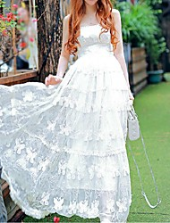 cheap -Women's Beach Boho Swing Dress,Solid Strap Maxi Sleeveless White Silk / Polyester Summer