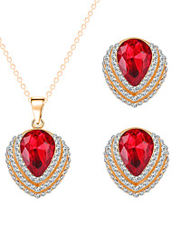 Fashion Red Crystal Zircon Necklace Earrings Bride Wedding Jewelry Sets Two-piece Combination