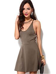 Gaine Robe Femme Soirée / Cocktail Sexy,Couleur Pleine A Bretelles Mini Sans Manches Polyester Eté Taille Haute Micro-élastique
