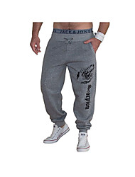 Men's Mid Rise Micro-elastic Active Relaxed Sweatpants Pants,Active Print Letter