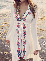 cheap -Women's Floral Bandeau Cover-Up Swimwear,Polyester White