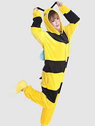 cheap -Kigurumi Pajamas Bee Onesie Pajamas Costume Coral fleece Yellow Cosplay For Adults' Animal Sleepwear Cartoon Halloween Festival / Holiday