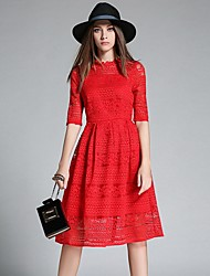 Women's Lace Party Street chic A Line Dress,Jacquard Round Neck Knee-length ½ Length Sleeve Pink / Red / Black Polyester Summer