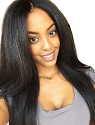 cheap -Human Hair Lace Front Wig / Glueless Full Lace Wig Brazilian Hair Natural Straight Middle Part / Free Part 150% Density 10-26 inch Natural Hairline / African American Wig / 100% Hand Tied Brown