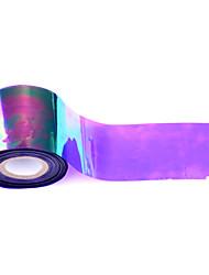 1roll 5cm * 100m autocollant en aluminium brillant de transfert des ongles laser holographique verre brisé nail art bricolage beauté