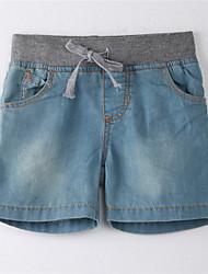 baratos -Unisexo Jeans Sólido Verão Algodão Roupas de Festa Azul