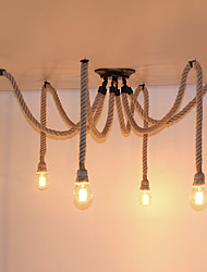 cheap -6 Heads American Country Retro Industrial Hemp Rope Chandelier Living Room Restaurant pendant lights light Fixture