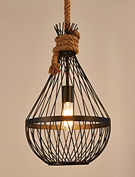cheap -Retro Creative hemp rope Pendant Lights Wrought Iron Birdcage Shade Dining Room the cafe bar counter light Fixture