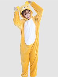 Kigurumi Pajamas Bear Raccoon Leotard/Onesie Festival/Holiday Animal Sleepwear Halloween Yellow Patchwork Coral fleece Kigurumi For Unisex