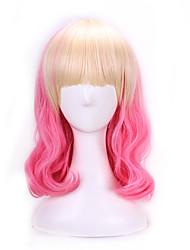 abordables -Pelucas sintéticas / Pelucas de Broma Ondulado Natural Rosa Pelo sintético Pelo Ombre Rosa Peluca Mujer Sin Tapa