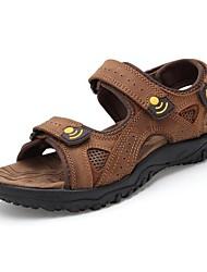 baratos -Homens Sapatos Couro Primavera / Verão / Outono Conforto Sem Salto Cinza-acastanhado
