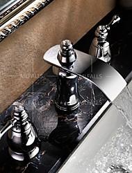 abordables -Robinet lavabo - Jet pluie Chrome Diffusion large Deux poignées trois trous