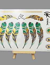 abordables -nouveau coffre de grande taille non toxique mode d'estampage à chaud couleurs hawaïennes plume imperméables tatouage autocollants