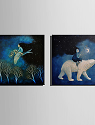 E-HOME® Stretched LED Canvas Print Art Riding Animal Spirit  LED Flashing Optical Fiber Print Set of 2