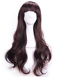 abordables -Pelucas sintéticas / Pelucas de Broma Rizado / Ondulado Con flequillo Pelo sintético Marrón Peluca Mujer Sin Tapa