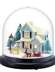 cheap -Chi Fun House Diy Hut Nordic Fairy Transparent Cover Villa Model Girlfriend Birthday Gift Music Box Wholesale