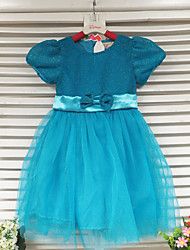 cheap -Girl's Blue Dress,Solid Polyester Summer