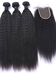cheap -4pcs/lot Mongolian Virgin Hair Kinky Straight Lace Closure With Coarse Italian Yaki Weft With Closure Human Hair Weaves
