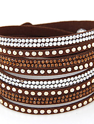 cheap -Women's Leather Rhinestone Imitation Diamond Wrap Bracelet - Fashion Double-layer European White Black Brown Red Bracelet For Party Daily