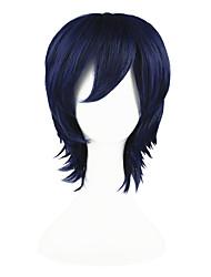 economico -Parrucche sintetiche Liscio Capelli sintetici Blu Parrucca Per donna Senza tappo