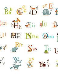 cheap -26 English Letters Wall Stickers Animals Kindergarten Wall Art Environmental PVC Children's Bedroom Wall Decals