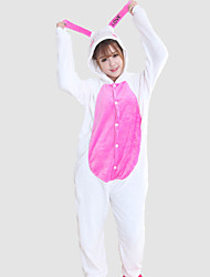 cheap -Adults' Kigurumi Pajamas Rabbit Bunny Onesie Pajamas Coral fleece Cosplay For Animal Sleepwear Cartoon Halloween Festival / Holiday
