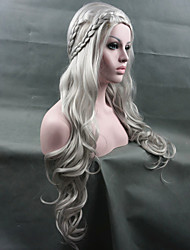 cheap -Cheap Women Synthetic Wigs Cosplay Game of Thrones Daenerys Inspired Hair Silver Wig New Arrival