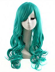 Χαμηλού Κόστους -Συνθετικές Περούκες Κυματιστό Συνθετικά μαλλιά Πράσινο Περούκα Γυναικεία Μακρύ Χωρίς κάλυμμα Πράσινο