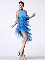cheap -Latin Dance Dresses Women's Performance Cotton Tassel / Crystals / Rhinestones Sleeveless High Dress / Neckwear / Bracelets