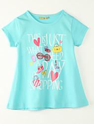 Mädchen T-Shirt-Ausgehen Druck Polyester Sommer Blau