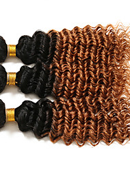 cheap -3 Pieces Curly Human Hair Weaves Brazilian Texture 100 12-26 Human Hair Extensions