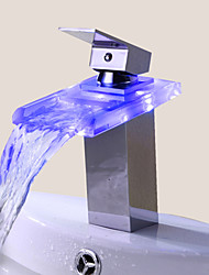 cheap -Bathroom Sink Faucet Single Handle faucet Color Changing LED Waterfall(Chrome Finish)