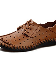 cheap -Men's Shoes Nappa Leather Spring / Summer / Fall Comfort Chunky Heel Lace-up Black / Brown / Taupe / Wedding / Party & Evening