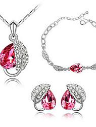 Ensemble de bijoux Cristal Cristal Pierres de naissance Rouge Rose Bleu Autre Nuptiales Parures Mariage Soirée 1setColliers décoratifs