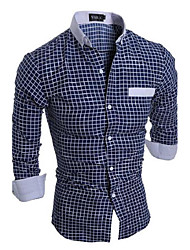 cheap -Men's Cotton Slim Shirt - Plaid Classic Collar